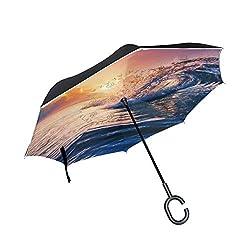 Ladninag Inverted Reverse Umbrella Hat Package Alarm Clock Windproof for Car Rain Outdoor