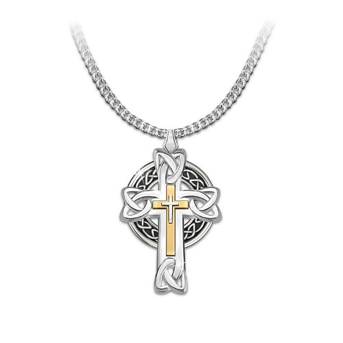 Stainless Steel with ion-plated 24K-gold accents Celtic Inspiration Men's Cross Pendant Necklace by The Bradford ()