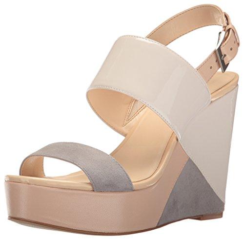 Nine West Women's Dreamz Synthetic Wedge Sandal, Off White/Multi, 8.5 M US 25025066