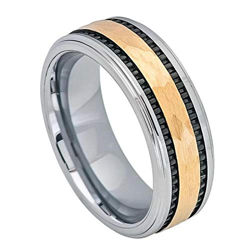 FashionBros Free Laser Engraving Wedding Band Ring Set for Him & Her - 8mm Tungsten Carbide Yellow Gold IP Hammered Center with Black IP Plated Stripes on The Side ()