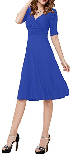 U-shot - Vestido de fiesta para mujer, escote de pico, diseño retro azul real