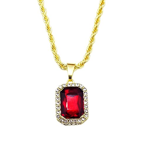 HH Bling Empire Mens Celebrity Style Hip Hop Gold Synthetic Ruby Emerald Sapphire Pendant Necklace (Lab Ruby) (Mens Ruby)
