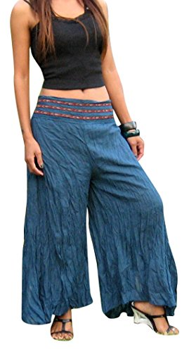 Billy's Thai Shop Women's Wide Legs Palazzo Pants Gaucho Ballon Pants One Size Fits Most. Blue (Billy Blues Wide Leg)