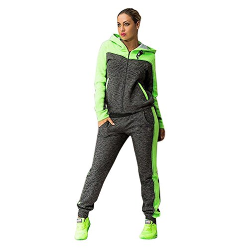 LEXUPA Women Sports Two Piece Set Hooded Sweatshirt Suits Tracksuits Sweatpants (Green,US:8/CN:L)