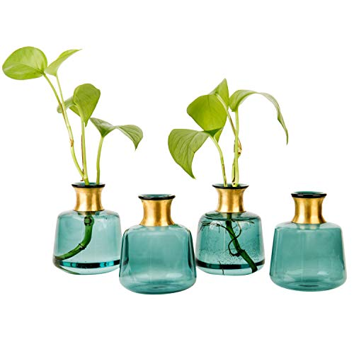 MyGift Set of 4 Turquoise Glass Bottles, Small Bud Flower Vases with Gold Trim, 4-inch