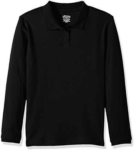 (Classroom Big Girls Long Sleeve Fitted Interlock Polo, sos Black, L)