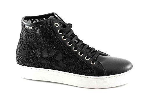 FRAU 40Z5 Black women shoes sneakers high embroidery laces Nero mTvJh5U