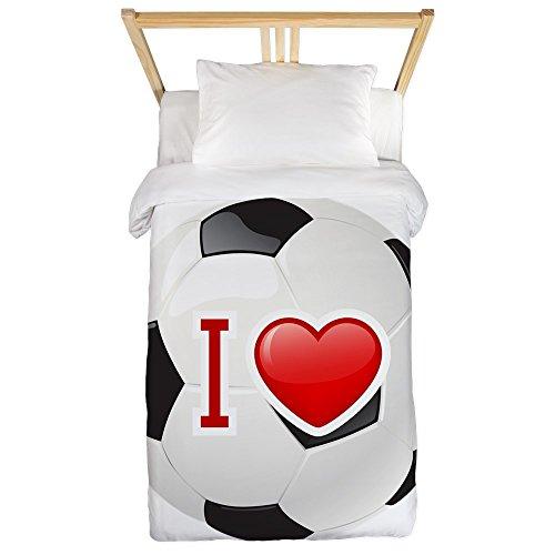 Twin Duvet Cover I Love Soccer Football Futbol by Royal Lion
