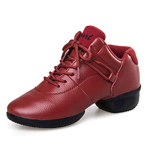 Entrenamiento Rojo Cuero Fondo Mujer red 39 Yan Fitness Plaza Zapatillas Zapatos Suave De Negro Cross Baile amp; tXwqq6x70