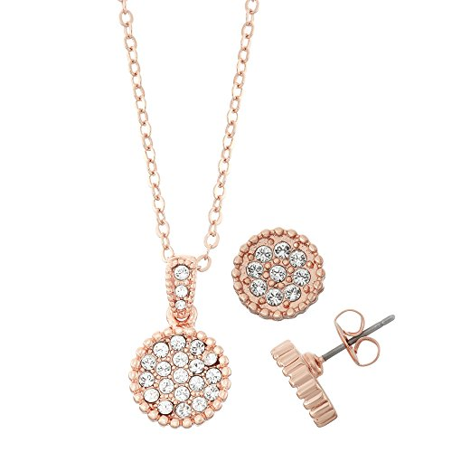 Rose Gold Plated Circle - Collection Bijoux 14K Rose Gold Plated Circle Shape Crystal Stud Earrings and Scallop Edge Necklace Set