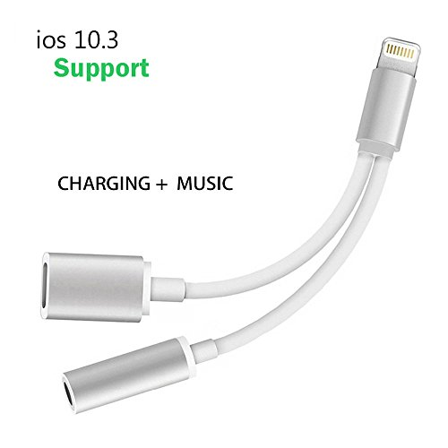 Adapter, Splitter, Compatible IOS 10.3 or Later, Jackiey Dual Lightning Headphone Audio & Charge Adapter for iPhone 7 / 7 Plus (Silver)