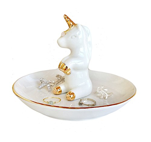 RaseHouse Unicorn Ring Holder Dish for Jewelry Necklace Bracelet Holders Display Home Decor Birthday Wedding for Mom, Friend, Girlfriend