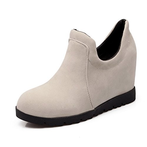 1TO9 Ladies Pull-On Wedges Casual Beige Rubber Skate Shoes - 4 B(M) US