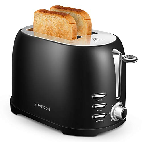 SHARDOR Toaster 2 Slice, Retro Extra-Wide Toaster, Bagel/Defrost/Cancel Function/Removable Tray, Stainless Steel, Black