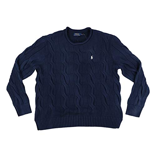 Polo Ralph Lauren Womens Rolled Crew Neck Cable Knit Sweater (L, Indigo Blue)