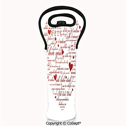 Flirt Champagne - Wine Bag Tote for Travel,Love Words in Various Language Universal Wedding Engaged Flirt Partners Print Decorative,For Champagne,Wine,Water Bottles (4.72x14.96 inch) Red White