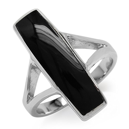 Long Created Black Onyx Inlay White Gold Plated 925 Sterling Silver Ring Size 11