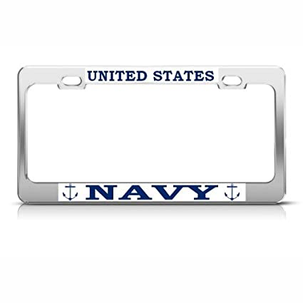 house united navy army family military logo license plate frame usa made