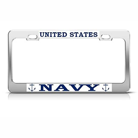 us navy metal military license plate frame tag holder - Military License Plate Frames