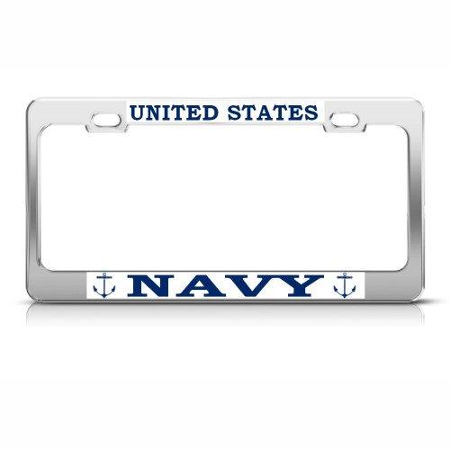 Speedy Pros U.S. Navy Metal Military License Plate Frame Tag Holder