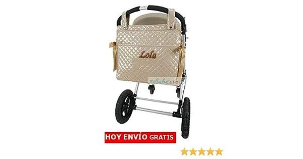 mibebestore - Bolso Talega Bordado/PERSONALIZADO Plastificada para carro color ARENA - Nombre bebé bordado