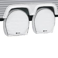 "Classic Accessories OverDrive Deluxe RV Wheel Cover, Wheels 18"" - 21"" Diameter, 6.75"" Tire Width, Snow White"