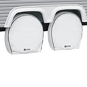 """Classic Accessories 80-220-142302-00 4-Pack RV Deluxe Wheel Covers For 24"""" - 26.5"""" Tire Diameter, White"""