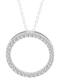 14K White Gold Round Cut White Diamond Ladies Circle Pendant (Silver Chain Included)