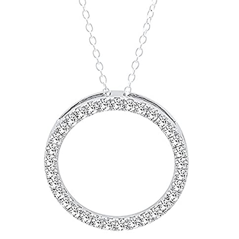- 413Uc5TAYTL - 14K Gold Round White Diamond Ladies Circle Pendant (Silver Chain Included)