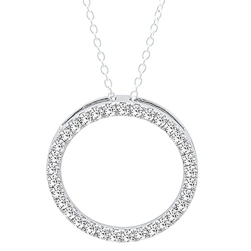 Dazzlingrock Collection 1.00 Carat (ctw) 14K Round White Diamond Circle Pendant 1 CT (Silver Chain Included), White Gold ()