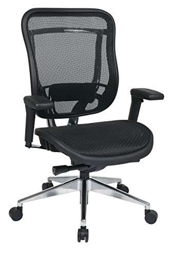 (SPACE Seating Big and Tall Mesh High Back and Seat, Ultra 2-to-1 Synchro Tilt Control, Pneumatic Seat Height Adjustment with Polished Aluminum Base Executive Chair)