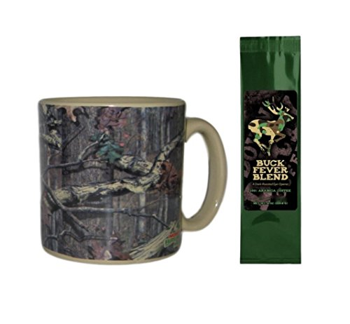 Mossy Oak Camo Mug with Buck Fever Coffee Bundle Gift Set (2 Items)