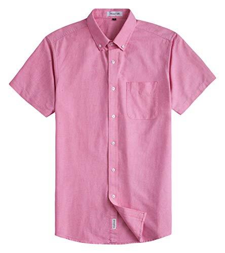 (MUSE FATH Men's Oxford Dress Shirt-Casual Short Sleeve Shirt-Button Down Point Collar Shirt with Chest Pocket-Pink-XXL)