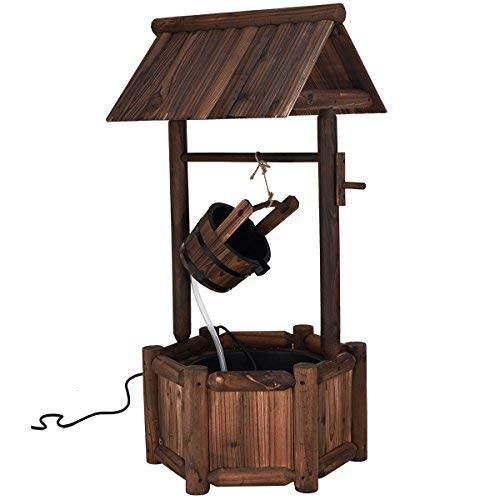 (Giantex Wishing Well Water Fountain Rustic Wooden Outdoor Garden Decorative Fountain Backyard w/Electric)