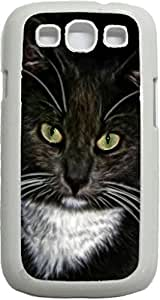 Cat with Green Eyes- Case for the Samsung Galaxy S III-S3- Hard White Plastic Snap On Case