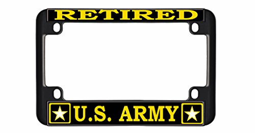 New Custom Auto Tag RETIRED US ARMY Quality Metal MOTORCYCLE License Plate Frame Chrome/Black - Army Retired Plate License