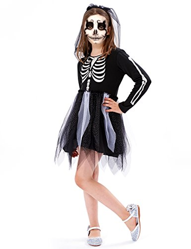 IKALI Girls Skeleton Costumes, Halloween Scary Fancy Dress Up, Zombie/Ghost Outfit for World Book Day, Carnival -