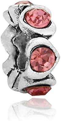 Charms Perles Bracelets compatibles Toutes Marques Soldes dhiver Charm Espaceur Anneau de Coeurs Roses
