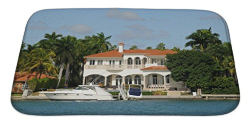 Gear New Bath Rug Mat No Slip Skid Microfiber Soft Plush Absorbent Memory Foam, Luxury Waterfront House, 34x21 Canal Tropical Rug