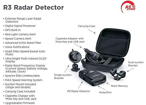 Amazon.com: Uniden R3 Extreme Long Range Radar Laser Detector GPS, 360 Degree, DSP, Voice Alert (Renewed): Car Electronics
