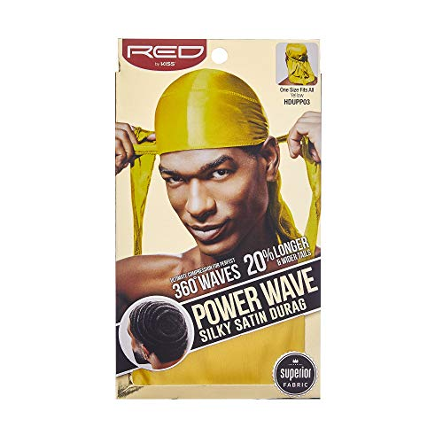Red By Kiss Power Wave Silky Satin Durag Extra Long Tails, Yellow