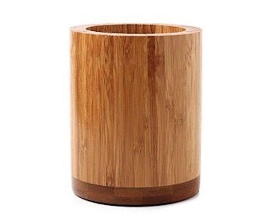 Utensil Wooden Holder (OC Design Eco-Friendly Natural Bamboo Wood Kitchen Utensils Holder - Round Non Slip - Spoon Spatula Chopsticks Organization - 4