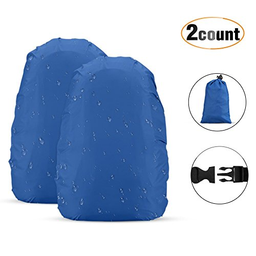 AGPTEK 2Pcs Nylon Waterproof Backpack Rain Cover with Carry Bag for Hiking/Camping/Outdoor Activities, Blue, Size S:18-25L