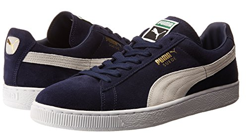 PUMA Men's Suede Classic + Sneaker, Peacoat/White, 9 M US Photo #7