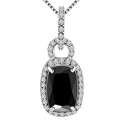 (Aurora Tears Black Pendant Women Square Stone Necklace Women Crystal CZ Jewelry Cubic Zirconia Wedding Gift)