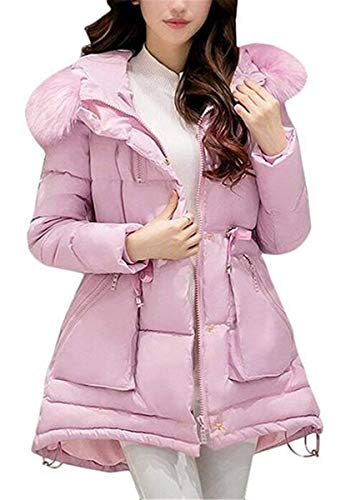 Fit Quilting Chic Doudoune Parka Manteau Battercake Épaissir Hiver Fourrure Blouson Longues Femme Rose Élégant Mode Facile Avec Slim Chaud Oversize Capuchon Outdoor awZwx75qg
