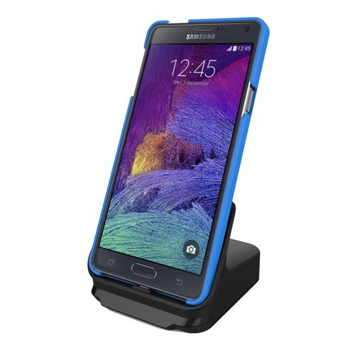 RND Dock for Samsung Galaxy Note 4, Note 5, and Galaxy S6 Edge Plus with USB port (compatible with or without a slim-fit case) (black)