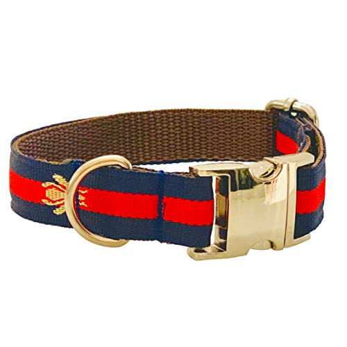 My Other Best Friend Adjustable Designer Dog Collar in Navy Blue with Embroidered Bee and Gold Hardware Comfortable Safe Available in