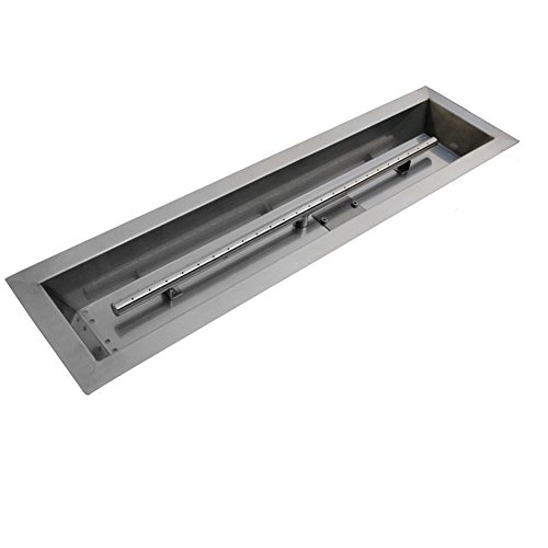 Stanbroil Stainless Steel Linear Trough Drop-In Fire Pit Pan and Burner 36 by - 6 Steel Burners Stainless