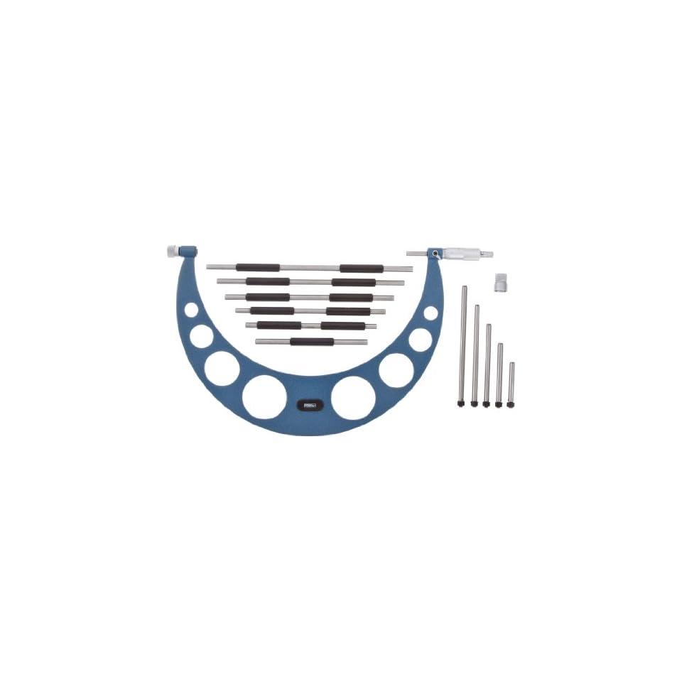 Fowler 52 401 222 1 Inch Series Interchangeable Anvil Micrometer Set, 6 12 Measuring Range, 0.001 Graduation Intervals